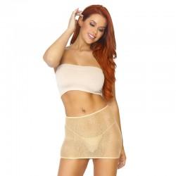 2Pc. Mesh Sequin Prints Mesh Bikini Top And Ruffle G-String