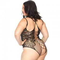 Romantic lace cris cross strap bodystocking